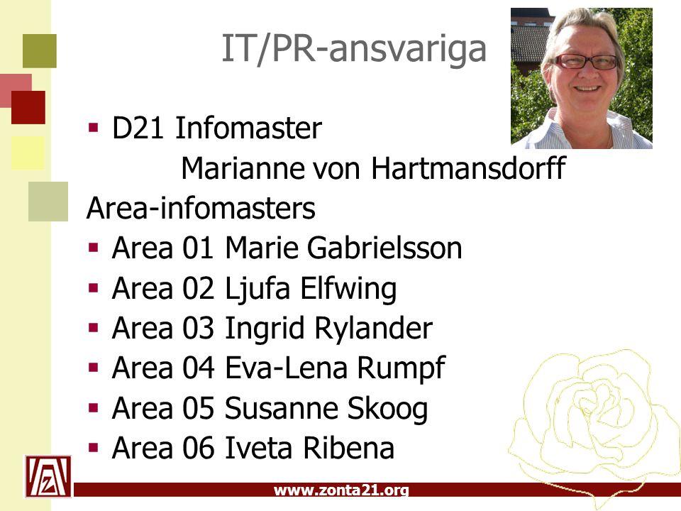 www.zonta21.org IT/PR-ansvariga  D21 Infomaster Marianne von Hartmansdorff Area-infomasters  Area 01 Marie Gabrielsson  Area 02 Ljufa Elfwing  Area 03 Ingrid Rylander  Area 04 Eva-Lena Rumpf  Area 05 Susanne Skoog  Area 06 Iveta Ribena