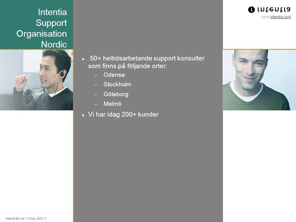 www.intentia.com Intentia Std ver 1.0 May 2000 11 Intentia Support Organisation Nordic 50+ heltidsarbetande support konsulter som finns på följande orter:  Odense:  Stockholm  Göteborg  Malmö Vi har idag 200+ kunder