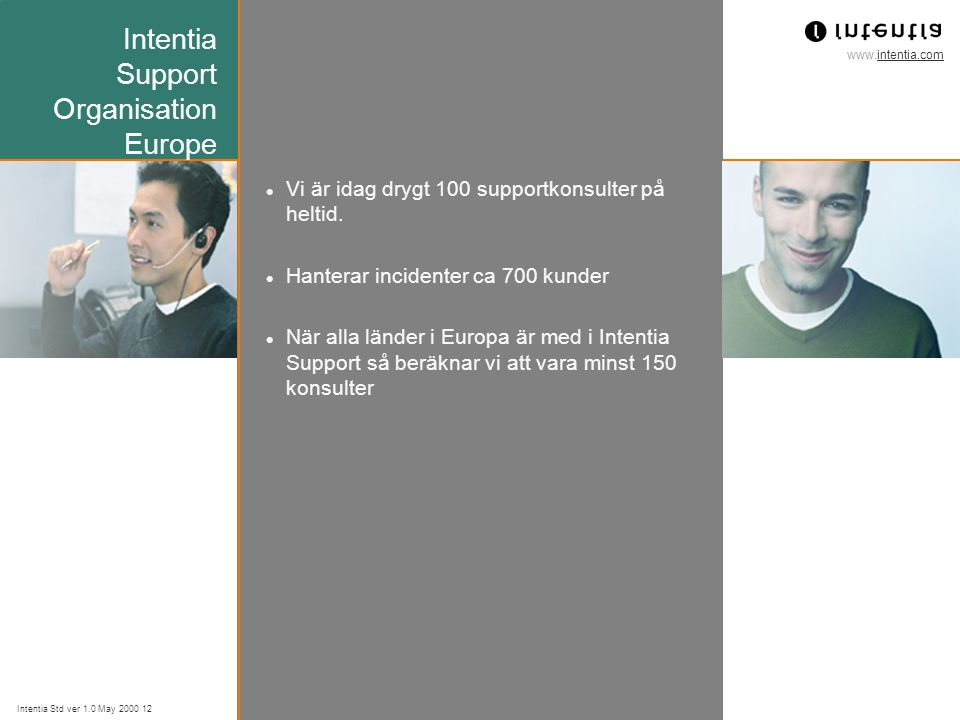 www.intentia.com Intentia Std ver 1.0 May 2000 12 Intentia Support Organisation Europe Vi är idag drygt 100 supportkonsulter på heltid.