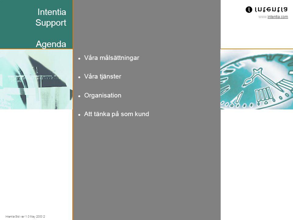 www.intentia.com Intentia Std ver 1.0 May 2000 3 Intentia Support Våra målsättningar Erbjuda våra kunder en högklassig support efter driftsstarten med Intentia-lösningen Vi skall erbjuda samma support över hela 'Intentia-världen' Vi skall erbjuda våra kunder möjligheten att välja olika nivåer av support Vi skall även fungera som stöd åt Intentias konsulter under implementationsfasen.