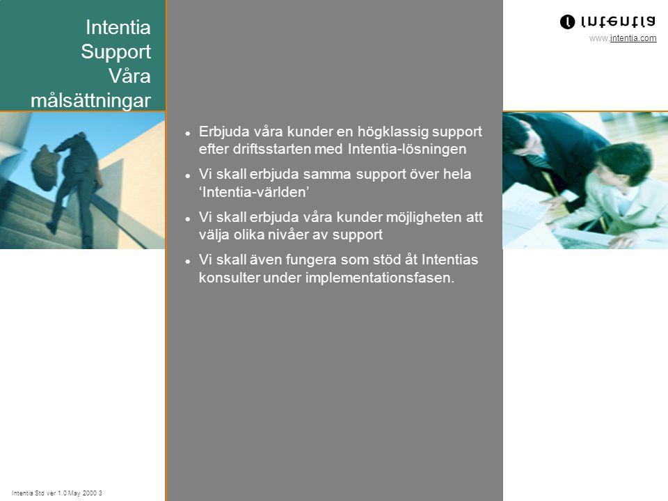 www.intentia.com Intentia Std ver 1.0 May 2000 3 Intentia Support Våra målsättningar Erbjuda våra kunder en högklassig support efter driftsstarten med
