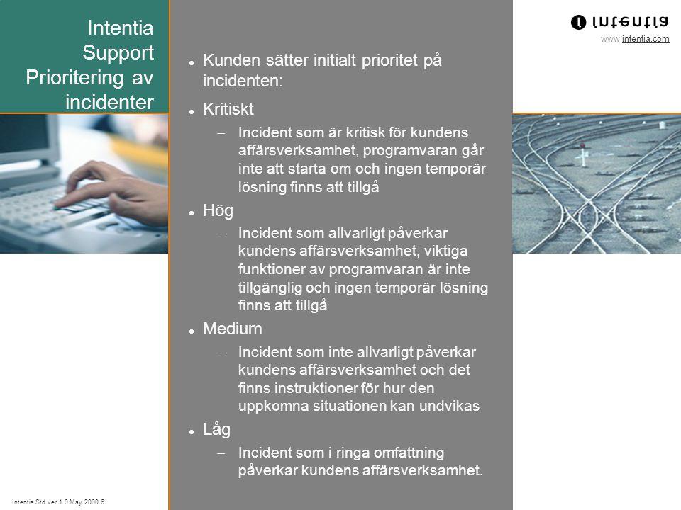 www.intentia.com Intentia Std ver 1.0 May 2000 6 Intentia Support Prioritering av incidenter Kunden sätter initialt prioritet på incidenten: Kritiskt