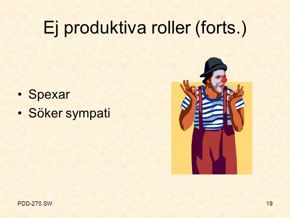 PDD-270.SW19 Ej produktiva roller (forts.) Spexar Söker sympati