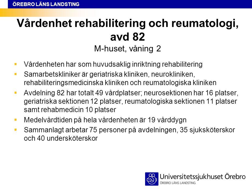 ÖREBRO LÄNS LANDSTING Vårdenhet rehabilitering och reumatologi, avd 82 M-huset, våning 2  Vårdenheten har som huvudsaklig inriktning rehabilitering  Samarbetskliniker är geriatriska kliniken, neurokliniken, rehabiliteringsmedicinska kliniken och reumatologiska kliniken  Avdelning 82 har totalt 49 vårdplatser; neurosektionen har 16 platser, geriatriska sektionen 12 platser, reumatologiska sektionen 11 platser samt rehabmedicin 10 platser  Medelvårdtiden på hela vårdenheten är 19 vårddygn  Sammanlagt arbetar 75 personer på avdelningen, 35 sjuksköterskor och 40 undersköterskor