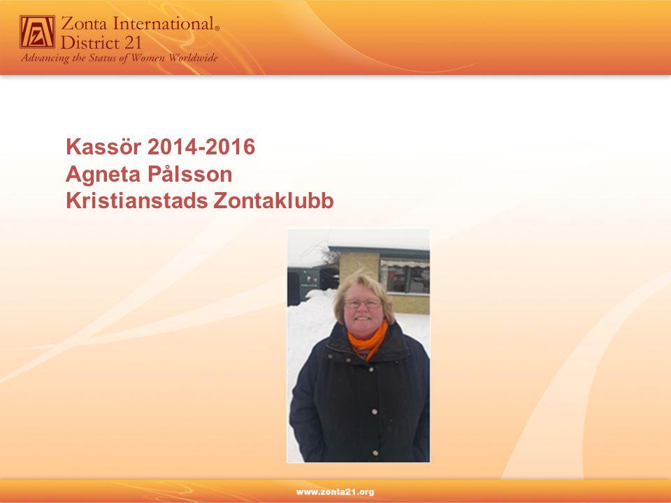 Kassör 2014-2016 Agneta Pålsson Kristianstads Zontaklubb