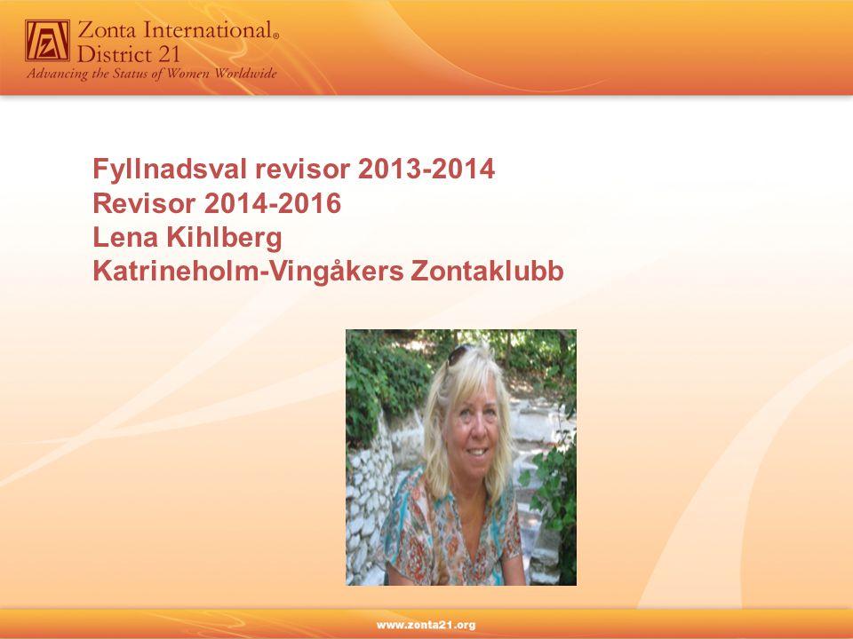 Fyllnadsval revisor 2013-2014 Revisor 2014-2016 Lena Kihlberg Katrineholm-Vingåkers Zontaklubb