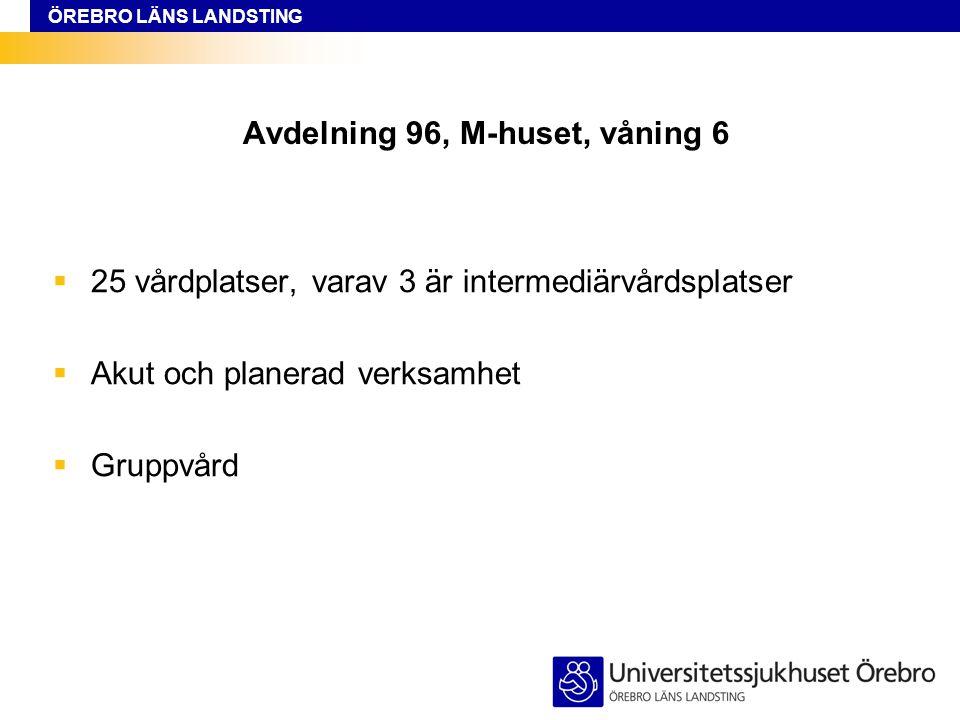 ÖREBRO LÄNS LANDSTING Avdelning 96, M-huset, våning 6  25 vårdplatser, varav 3 är intermediärvårdsplatser  Akut och planerad verksamhet  Gruppvård