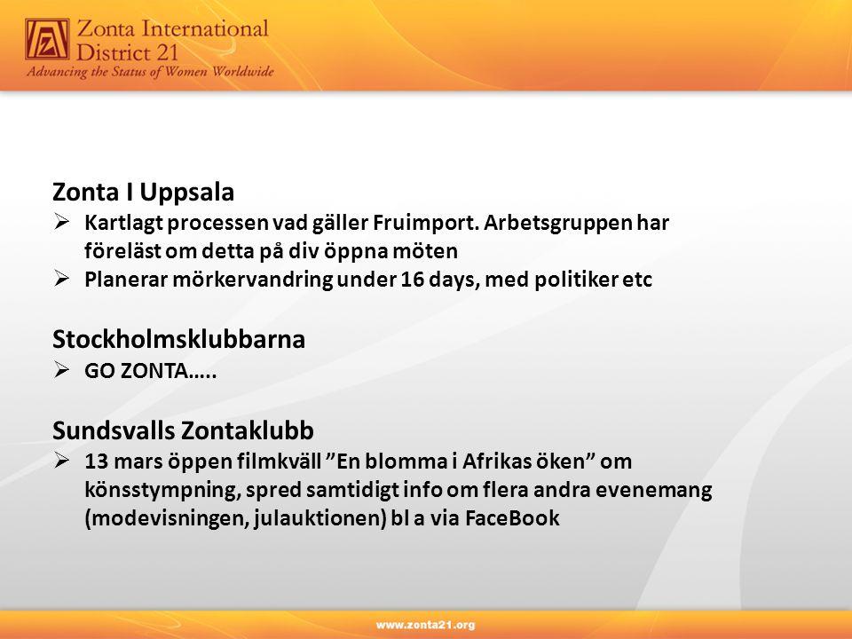 Zonta I Uppsala  Kartlagt processen vad gäller Fruimport. Arbetsgruppen har föreläst om detta på div öppna möten  Planerar mörkervandring under 16 d