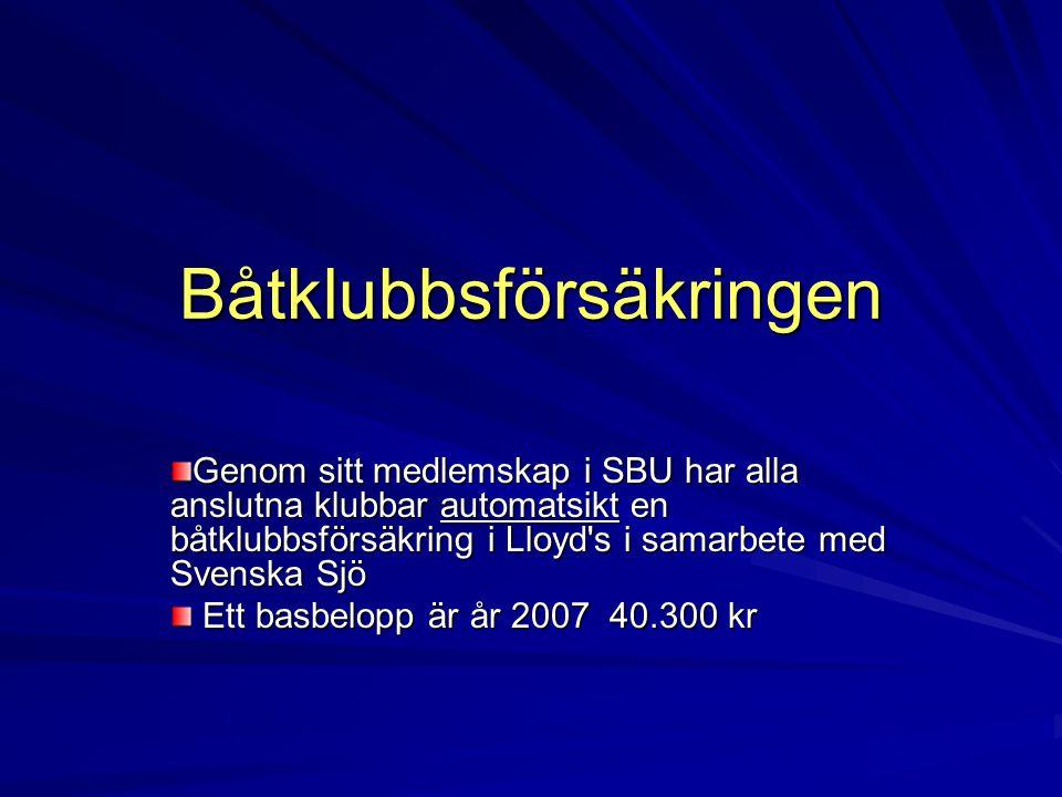 Båtklubbsförsäkringen Genom sitt medlemskap i SBU har alla anslutna klubbar automatsikt en båtklubbsförsäkring i Lloyd's i samarbete med Svenska Sjö E