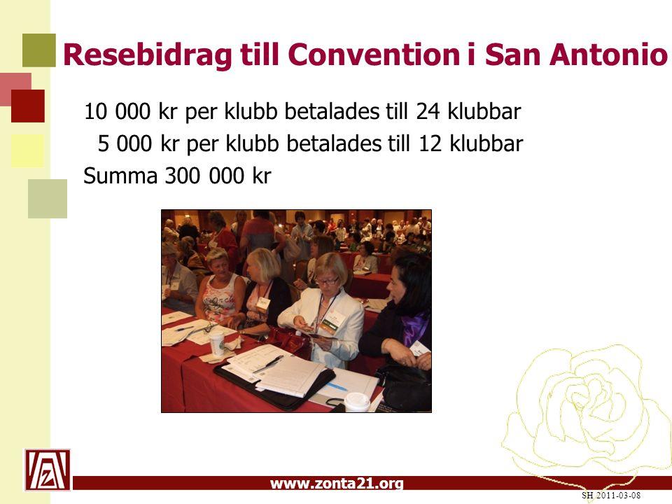 www.zonta21.org Resebidrag till Convention i San Antonio 10 000 kr per klubb betalades till 24 klubbar 5 000 kr per klubb betalades till 12 klubbar Summa 300 000 kr SH 2011-03-08