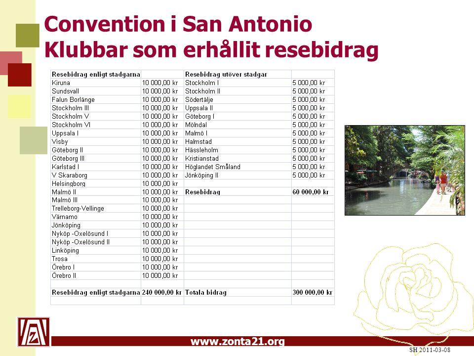www.zonta21.org Convention i San Antonio Klubbar som erhållit resebidrag SH 2011-03-08