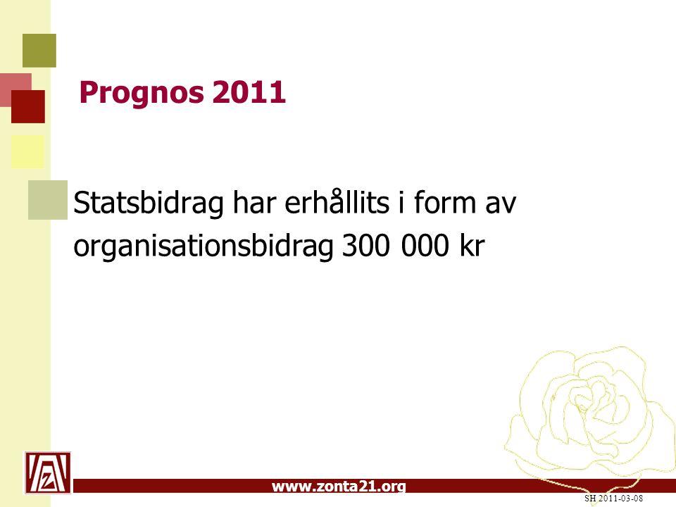 www.zonta21.org Prognos 2011 Statsbidrag har erhållits i form av organisationsbidrag 300 000 kr SH 2011-03-08