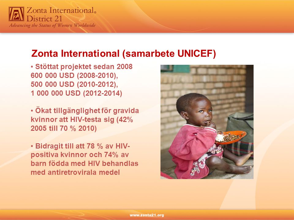Zonta International (samarbete UNICEF) Stöttat projektet sedan 2008 600 000 USD (2008-2010), 500 000 USD (2010-2012), 1 000 000 USD (2012-2014) Ökat tillgänglighet för gravida kvinnor att HIV-testa sig (42% 2005 till 70 % 2010) Bidragit till att 78 % av HIV- positiva kvinnor och 74% av barn födda med HIV behandlas med antiretrovirala medel