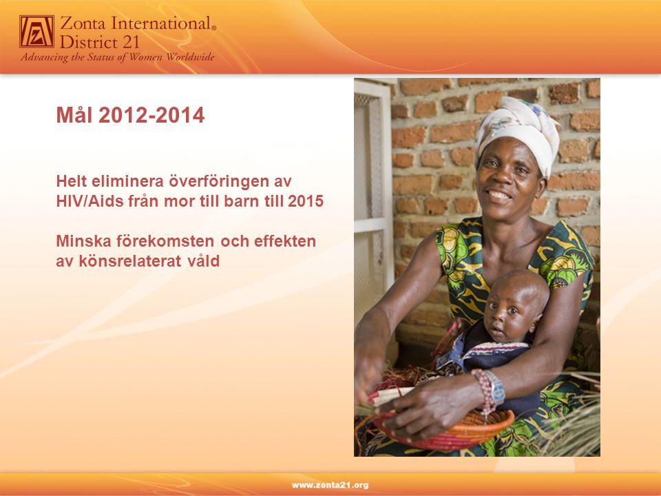Mål 2012-2014 Helt eliminera överföringen av HIV/Aids från mor till barn till 2015 Minska förekomsten och effekten av könsrelaterat våld