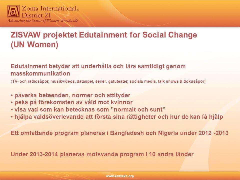 Edutainment betyder att underhålla och lära samtidigt genom masskommunikation (TV- och radiosåpor, musikvideos, dataspel, serier, gatuteater, sociala media, talk shows & dokusåpor) påverka beteenden, normer och attityder peka på förekomsten av våld mot kvinnor visa vad som kan betecknas som normalt och sunt hjälpa våldsöverlevande att förstå sina rättigheter och hur de kan få hjälp ZISVAW projektet Edutainment for Social Change (UN Women) Ett omfattande program planeras i Bangladesh och Nigeria under 2012 -2013 Under 2013-2014 planeras motsvande program i 10 andra länder