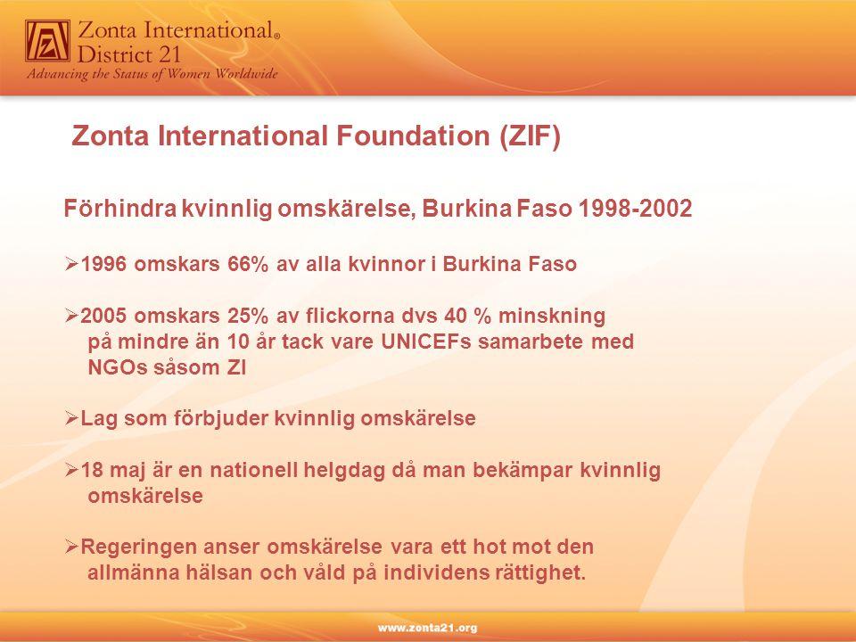 Zonta International Foundation (ZIF) Förhindra kvinnlig omskärelse, Burkina Faso 1998-2002  1996 omskars 66% av alla kvinnor i Burkina Faso  2005 om