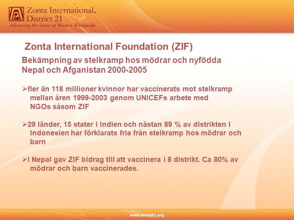 Zonta International Foundation (ZIF) Bekämpning av stelkramp hos mödrar och nyfödda Nepal och Afganistan 2000-2005  fler än 118 millioner kvinnor har