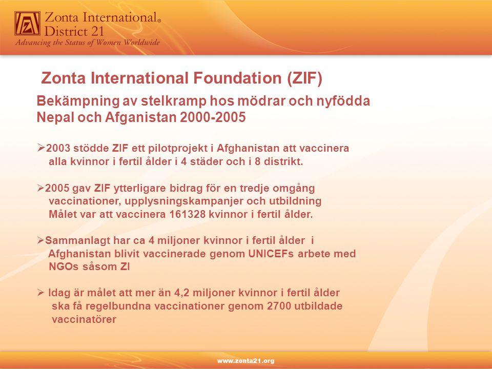 Zonta International Foundation (ZIF) Bekämpning av stelkramp hos mödrar och nyfödda Nepal och Afganistan 2000-2005  2003 stödde ZIF ett pilotprojekt i Afghanistan att vaccinera alla kvinnor i fertil ålder i 4 städer och i 8 distrikt.