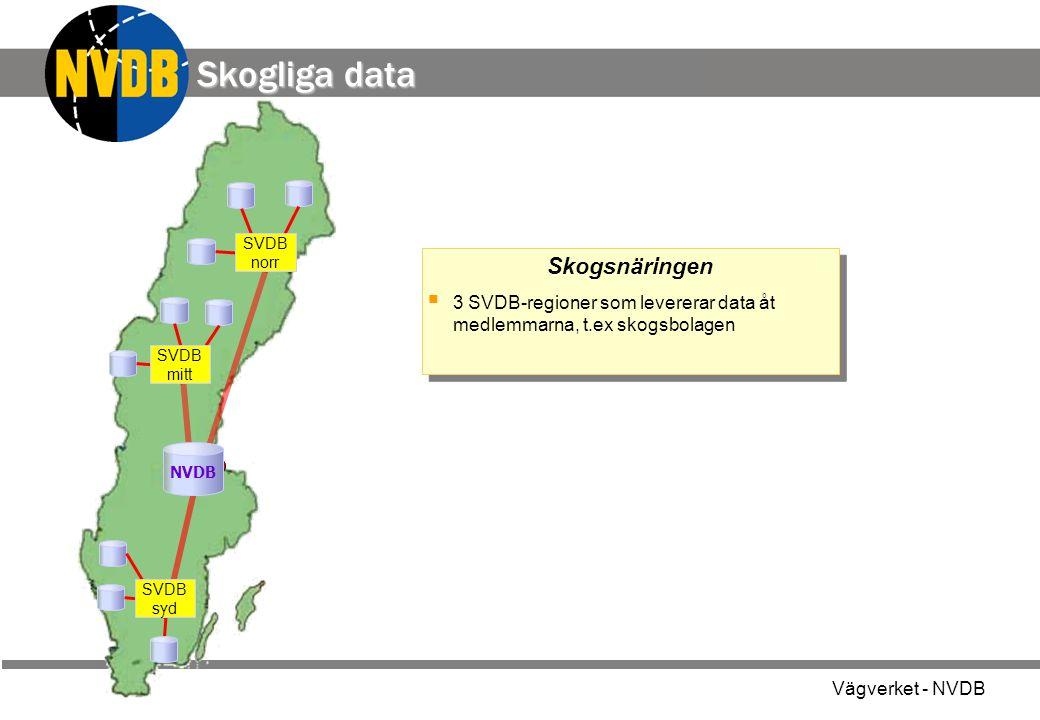 Vägverket - NVDB Skogsnäringen  3 SVDB-regioner som levererar data åt medlemmarna, t.ex skogsbolagen Skogsnäringen  3 SVDB-regioner som levererar data åt medlemmarna, t.ex skogsbolagen SVDB syd NVDB SVDB mitt Skogliga data SVDB norr