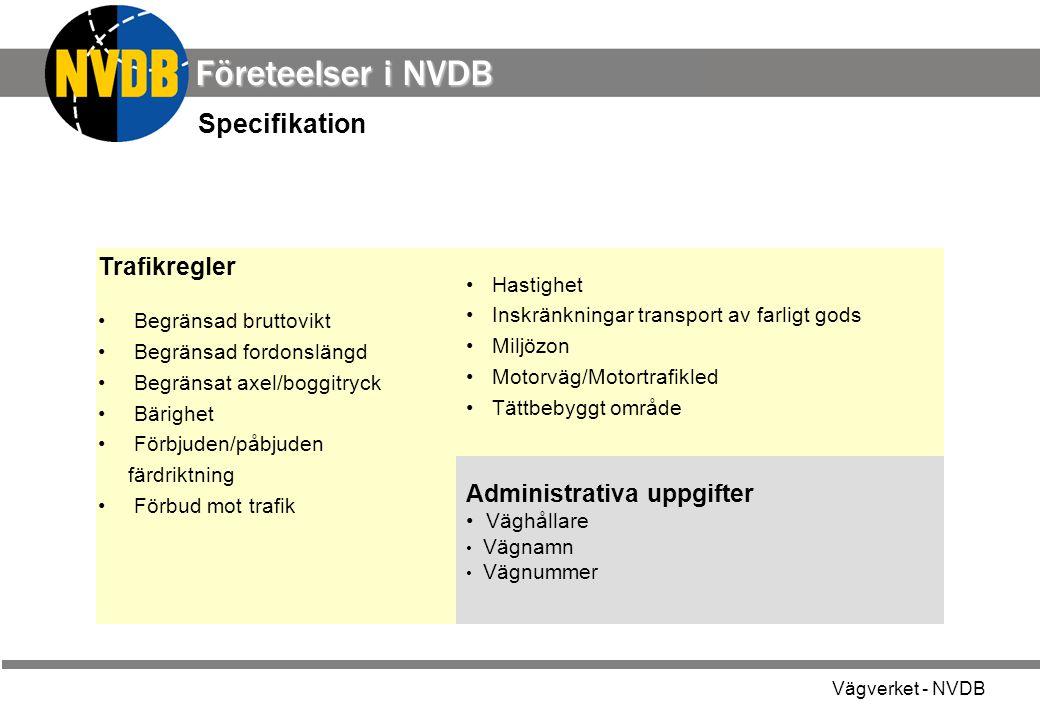Vägverket - NVDB Administrativa uppgifter Väghållare Vägnamn Vägnummer Specifikation Trafikregler Begränsad bruttovikt Begränsad fordonslängd Begränsa