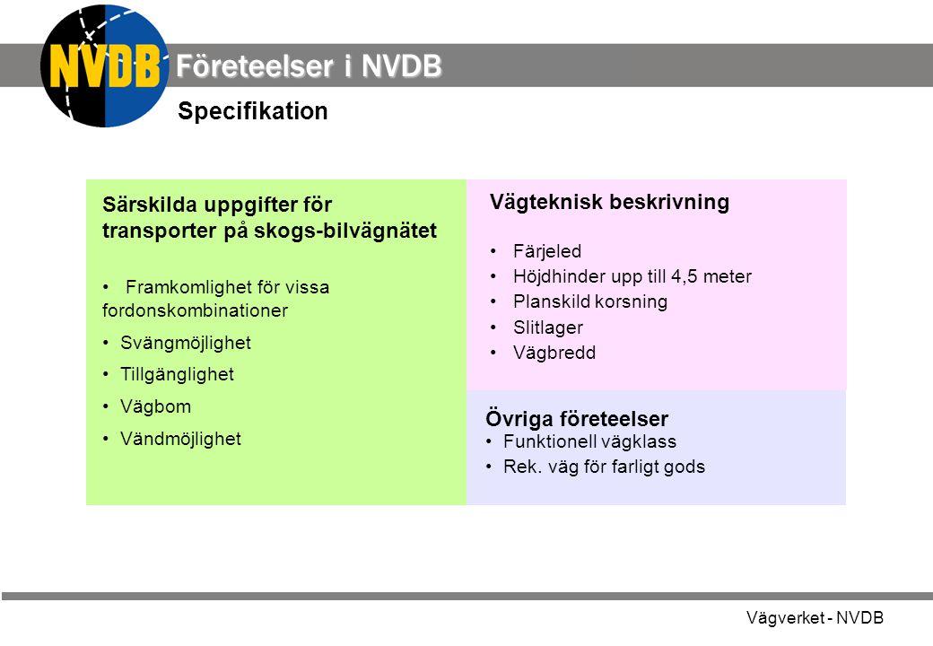 Vägverket - NVDB Särskilda uppgifter för transporter på skogs-bilvägnätet Framkomlighet för vissa fordonskombinationer Svängmöjlighet Tillgänglighet Vägbom Vändmöjlighet Övriga företeelser Funktionell vägklass Rek.