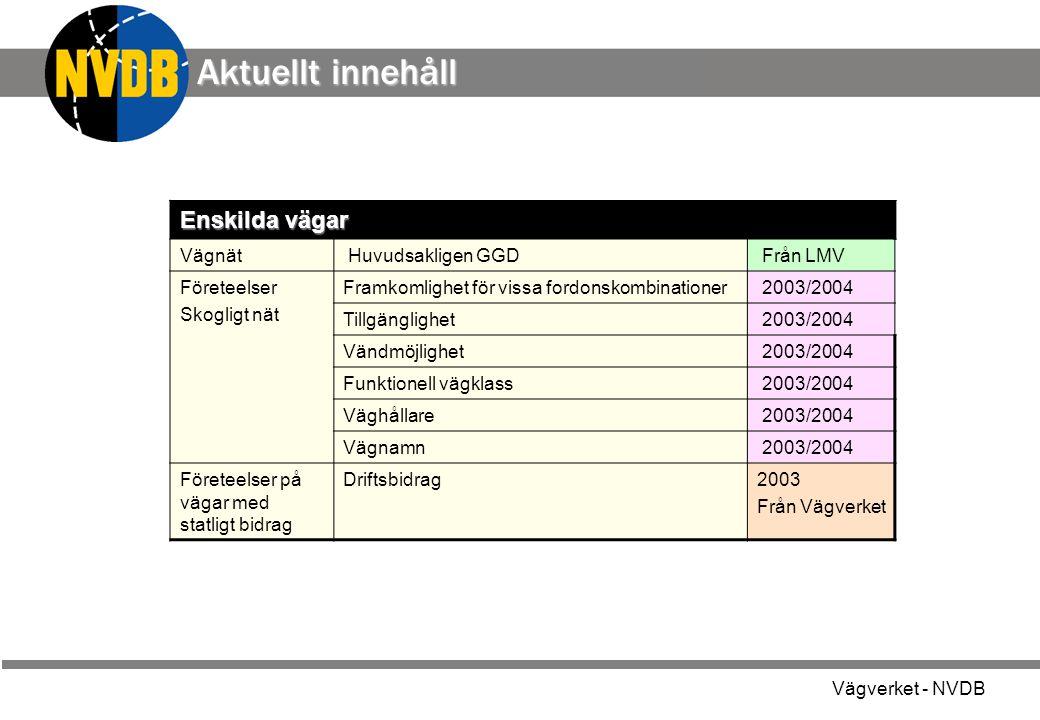 Vägverket - NVDB Enskilda vägar Vägnät Huvudsakligen GGD Från LMV Företeelser Skogligt nät Framkomlighet för vissa fordonskombinationer 2003/2004 Till