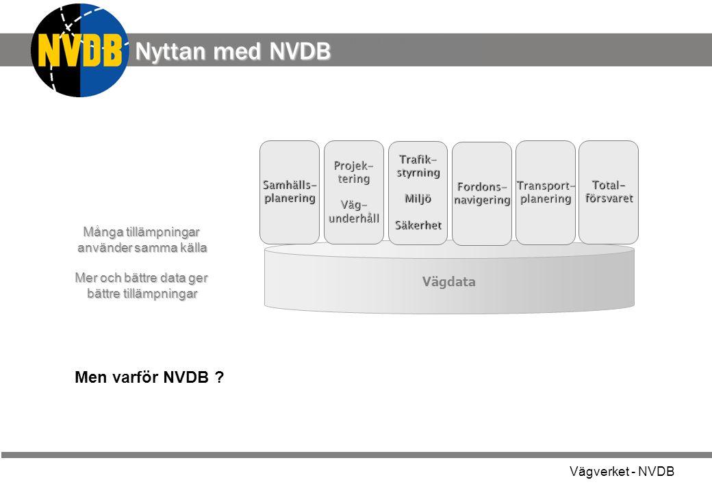 Vägverket - NVDB - grunden i all information om Sveriges vägar Vägdata a Projek- tering Väg-underhåll Trafik- styrning MiljöSäkerhet Samhälls- planeri