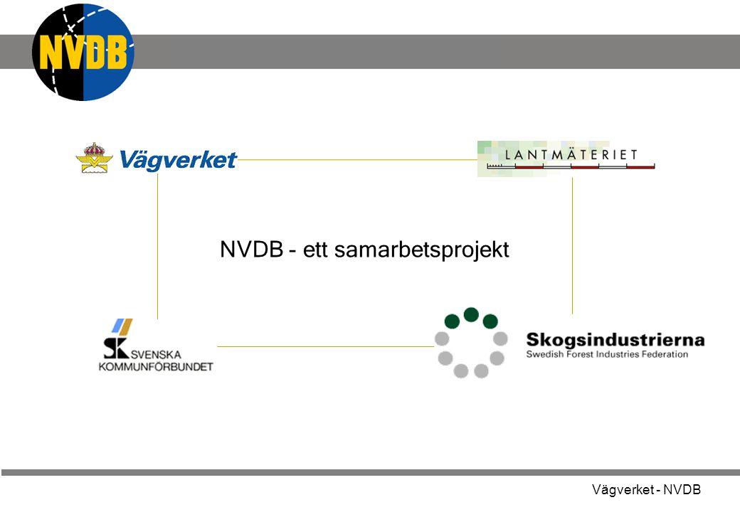Vägverket - NVDB - grunden i all information om Sveriges vägar Vägdata a Projek- tering Väg-underhåll Trafik- styrning MiljöSäkerhet Samhälls- planering Fordons-navigering Transport-planering Total-försvaret Många tillämpningar använder samma källa Mer och bättre data ger bättre tillämpningar Nyttan med NVDB Men varför NVDB ?