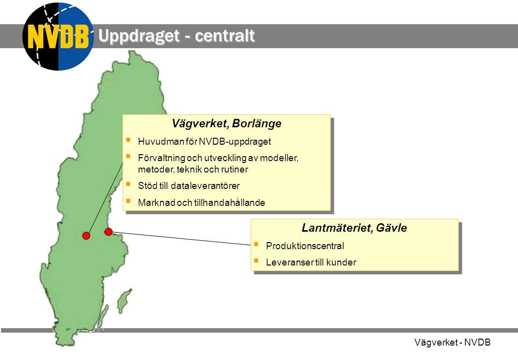 Vägverket - NVDB Uppdraget - centralt Vägverket, Borlänge  Huvudman för NVDB-uppdraget  Förvaltning och utveckling av modeller, metoder, teknik och
