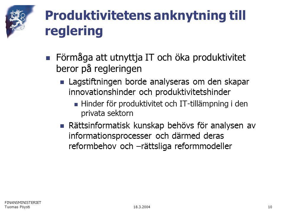 FINANSMINISTERIET 18.3.2004Tuomas Pöysti10 Produktivitetens anknytning till reglering Förmåga att utnyttja IT och öka produktivitet beror på reglering