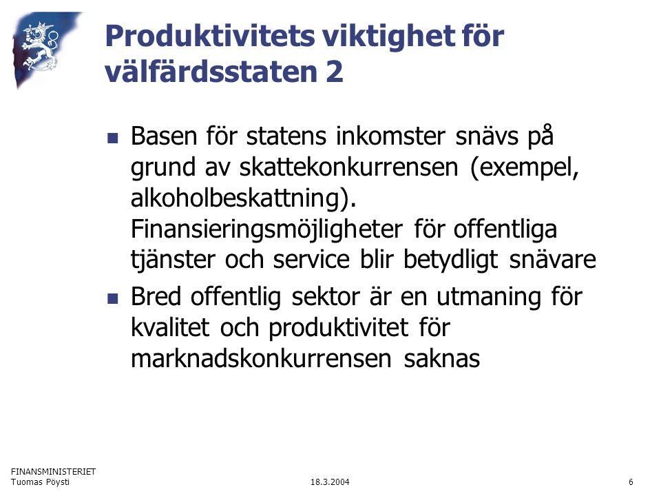 FINANSMINISTERIET 18.3.2004Tuomas Pöysti6 Produktivitets viktighet för välfärdsstaten 2 Basen för statens inkomster snävs på grund av skattekonkurrensen (exempel, alkoholbeskattning).