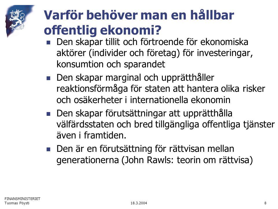FINANSMINISTERIET 18.3.2004Tuomas Pöysti8 Varför behöver man en hållbar offentlig ekonomi? Den skapar tillit och förtroende för ekonomiska aktörer (in