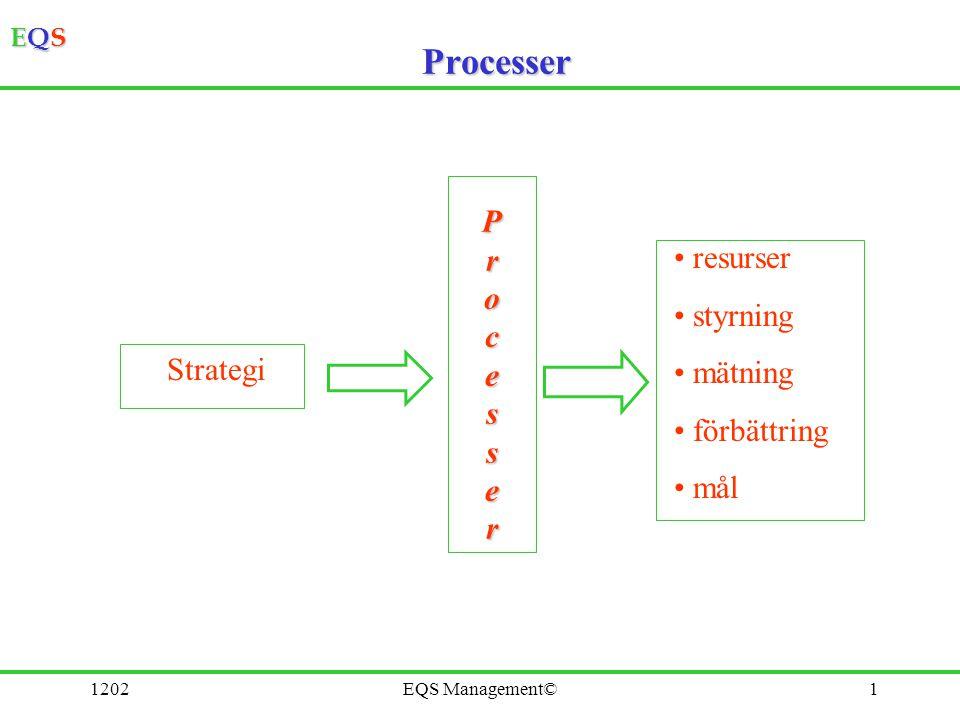EQSEQSEQSEQS 1202EQS Management©1 Processer Strategi Processer resurser styrning mätning förbättring mål