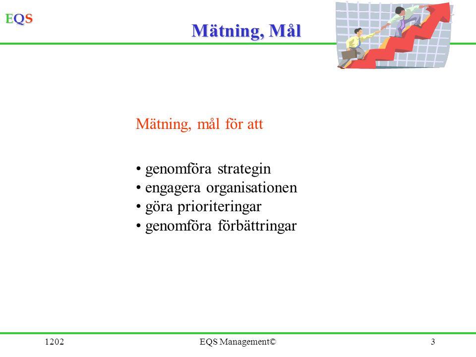 EQSEQSEQSEQS 1202EQS Management©3 Mätning, Mål Mätning, mål för att genomföra strategin engagera organisationen göra prioriteringar genomföra förbättr