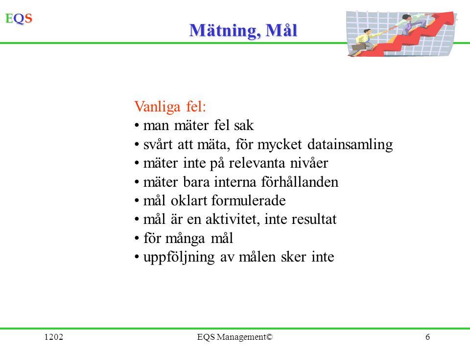 EQSEQSEQSEQS 1202EQS Management©6 Mätning, Mål Vanliga fel: man mäter fel sak svårt att mäta, för mycket datainsamling mäter inte på relevanta nivåer