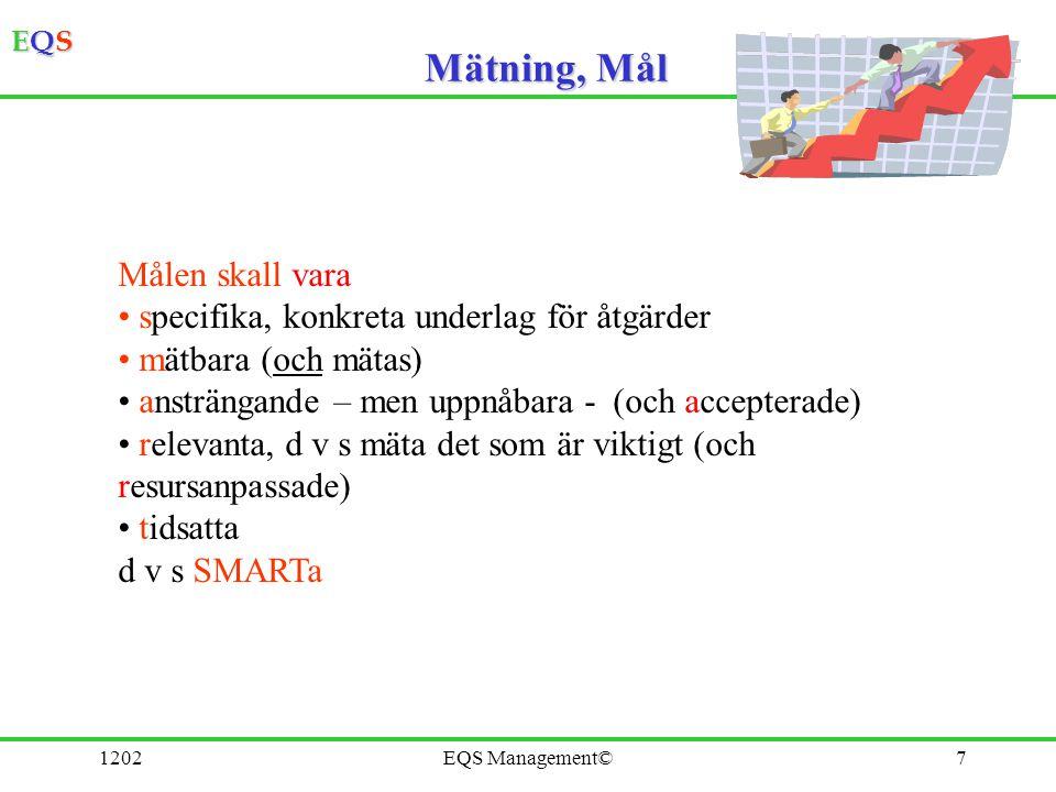 EQSEQSEQSEQS 1202EQS Management©7 Mätning, Mål Målen skall vara specifika, konkreta underlag för åtgärder mätbara (och mätas) ansträngande – men uppnå