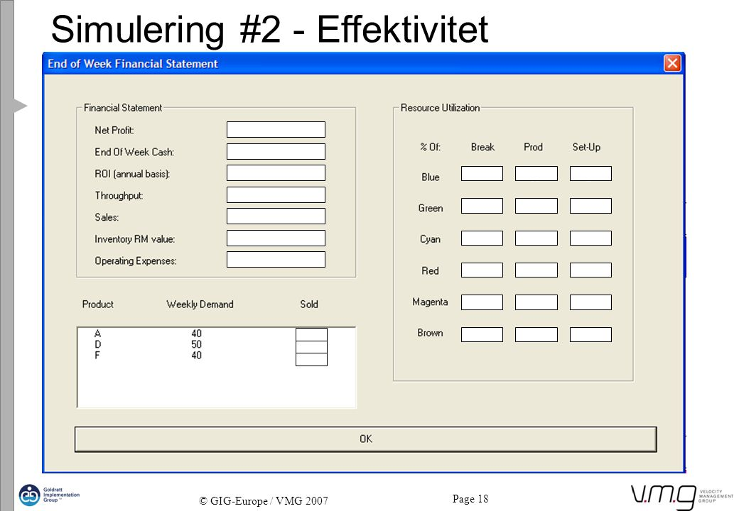 Page 18 © GIG-Europe / VMG 2007 Simulering #2 - Effektivitet