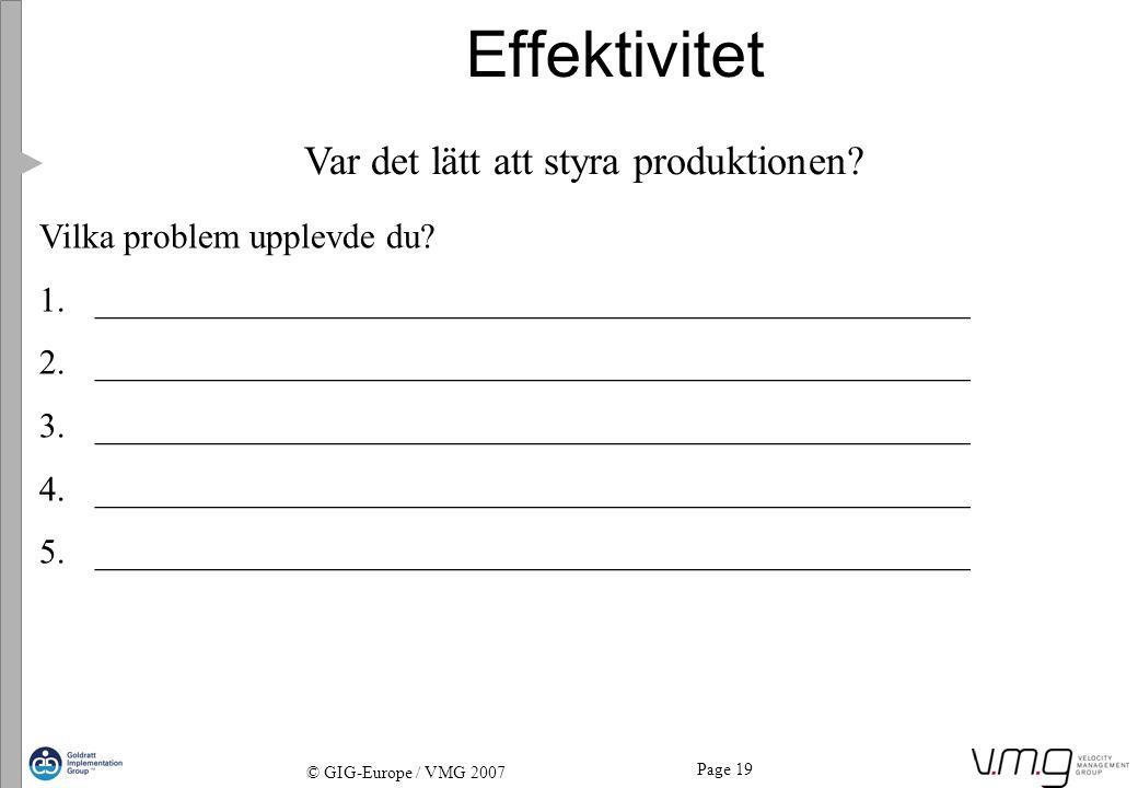 Page 19 © GIG-Europe / VMG 2007 Effektivitet Var det lätt att styra produktionen? Vilka problem upplevde du? 1._______________________________________