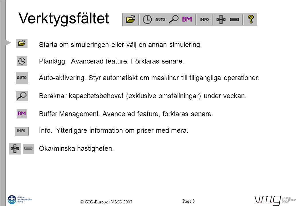 Page 8 © GIG-Europe / VMG 2007 Verktygsfältet Starta om simuleringen eller välj en annan simulering. Planlägg. Avancerad feature. Förklaras senare. Au
