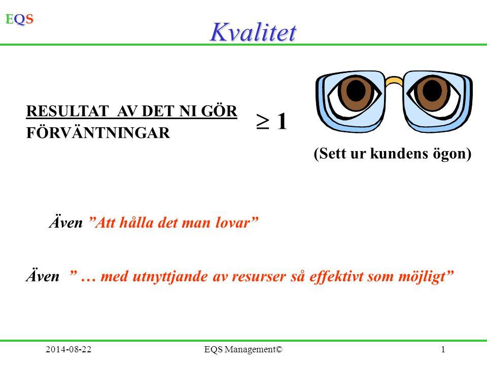EQSEQSEQSEQS 2014-08-22EQS Management©2 Kundens förväntningar Kund- tillfredsställelse Uppfyllelse Uttalade behov Omedvetna behov Underförstådda behov Källa: Sandholm