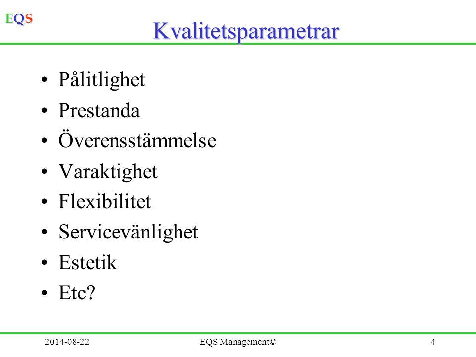EQSEQSEQSEQS 2014-08-22EQS Management©5Kvalitetskontroll Bara efteråt Stor skräphög Kontrollera att den färdiga varan, tjänsten har egenskaper som kunden vill ha Kontrollera allt eller ett stickprov Om stor risk för fel, stora konsekvenser - kontrollera allt eller ett stort stickprov Kvalitetskontroll bara efteråt kan leda till mycket arbete för omarbetning - stort spill Kvalitetskontroll kan ske på flera ställen i processen för att ta fram varan, tjänsten