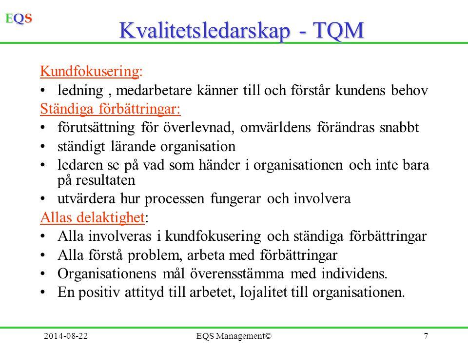 EQSEQSEQSEQS 2014-08-22EQS Management©7 Kvalitetsledarskap - TQM Kundfokusering: ledning, medarbetare känner till och förstår kundens behov Ständiga f