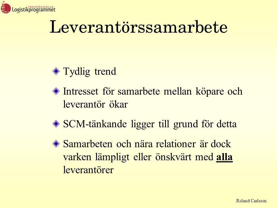Roland Carlsson Leverantörssamarbete Tydlig trend Intresset för samarbete mellan köpare och leverantör ökar SCM-tänkande ligger till grund för detta Samarbeten och nära relationer är dock varken lämpligt eller önskvärt med alla leverantörer