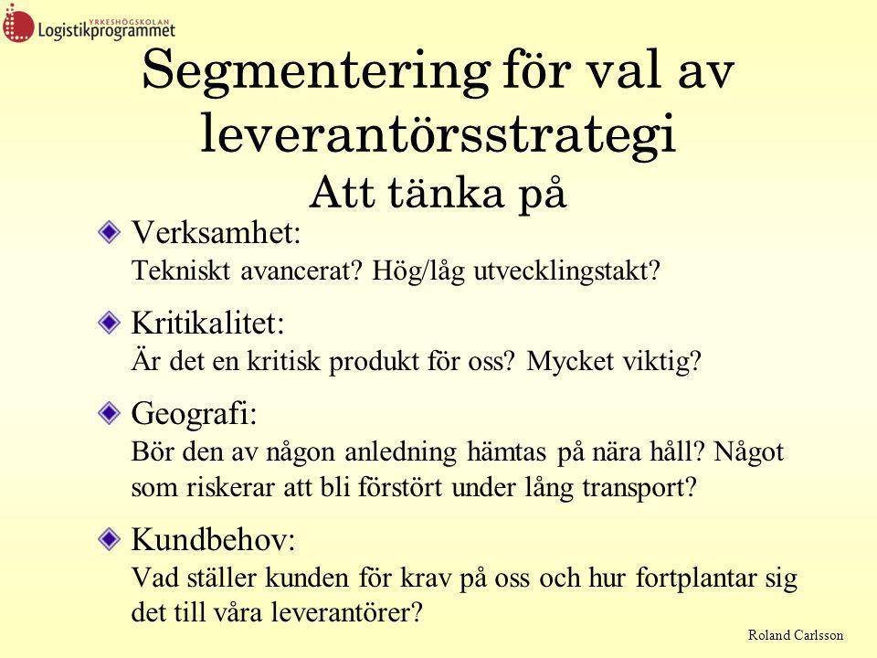 Roland Carlsson Segmentering för val av leverantörsstrategi Att tänka på Verksamhet: Tekniskt avancerat.
