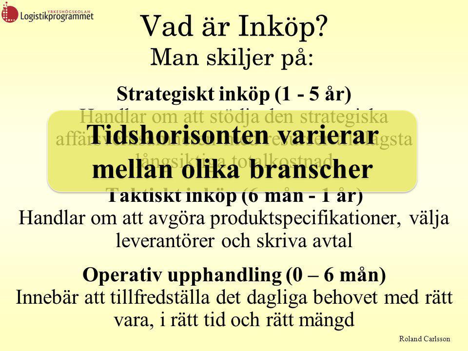 Roland Carlsson Leverantörsstrategier Några alternativ Marknadsorientering Leverantörerna kan bytas ut från dag till dag Alternativa leverantörer Övervaka marknaden.