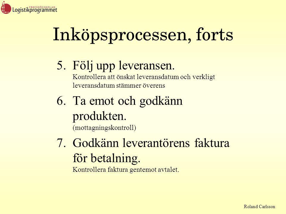 Roland Carlsson Inköpsprocessen, forts 5.Följ upp leveransen.