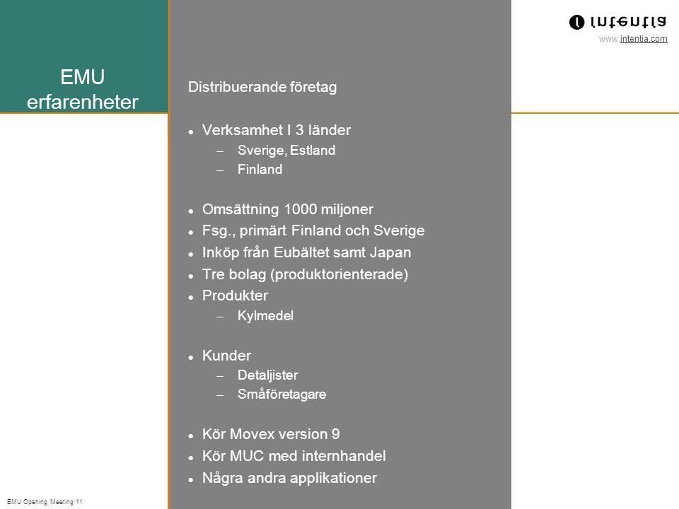 www.intentia.com EMU Opening Meeting 11 EMU erfarenheter Distribuerande företag Verksamhet I 3 länder  Sverige, Estland  Finland Omsättning 1000 miljoner Fsg., primärt Finland och Sverige Inköp från Eubältet samt Japan Tre bolag (produktorienterade) Produkter  Kylmedel Kunder  Detaljister  Småföretagare Kör Movex version 9 Kör MUC med internhandel Några andra applikationer