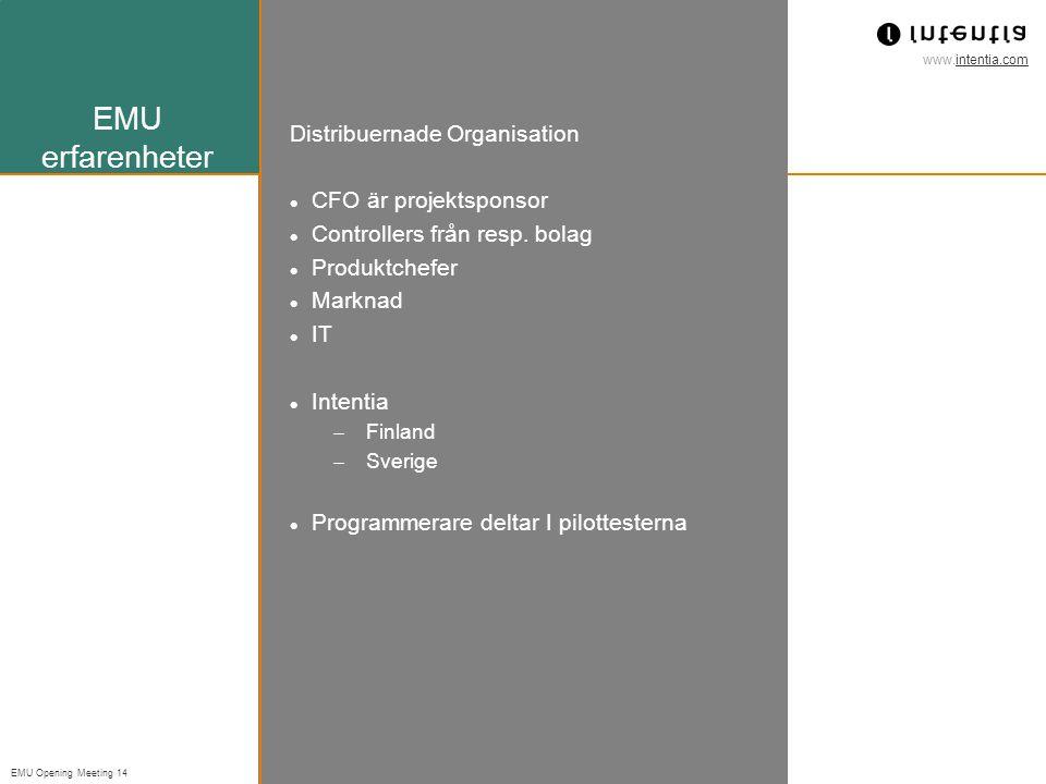 www.intentia.com EMU Opening Meeting 14 EMU erfarenheter Distribuernade Organisation CFO är projektsponsor Controllers från resp.