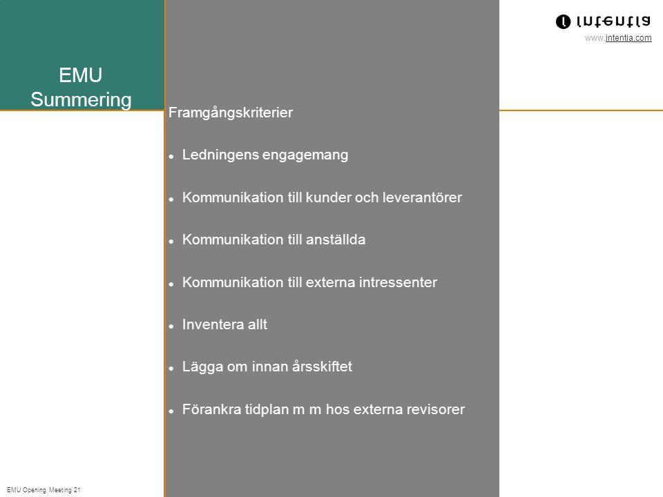 www.intentia.com EMU Opening Meeting 21 EMU Summering Framgångskriterier Ledningens engagemang Kommunikation till kunder och leverantörer Kommunikation till anställda Kommunikation till externa intressenter Inventera allt Lägga om innan årsskiftet Förankra tidplan m m hos externa revisorer