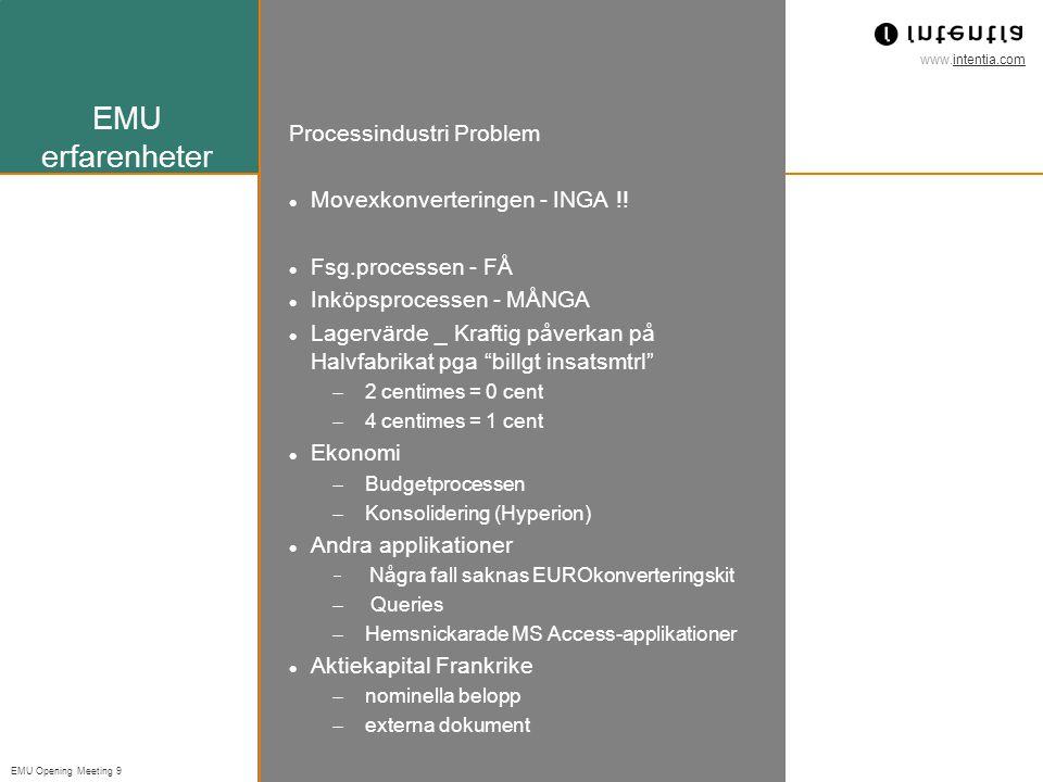 www.intentia.com EMU Opening Meeting 9 EMU erfarenheter Processindustri Problem Movexkonverteringen - INGA !.